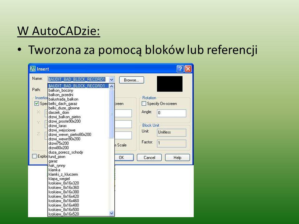 W AutoCADzie: Tworzona za pomocą bloków lub referencji