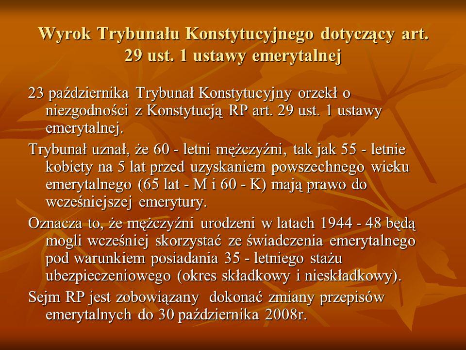 Wyrok Trybunału Konstytucyjnego dotyczący art. 29 ust