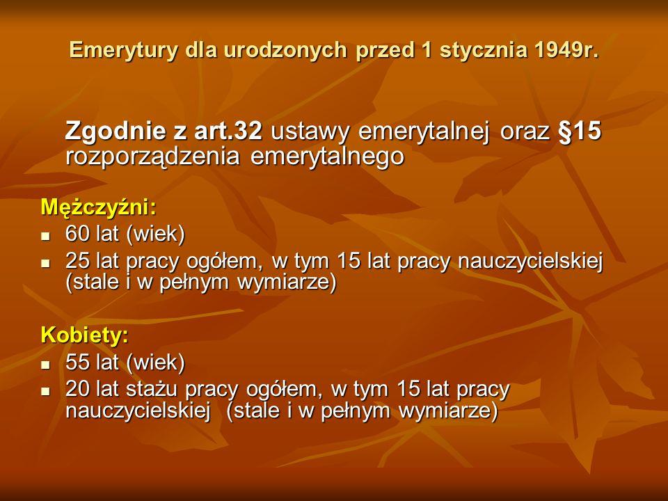 Emerytury dla urodzonych przed 1 stycznia 1949r.