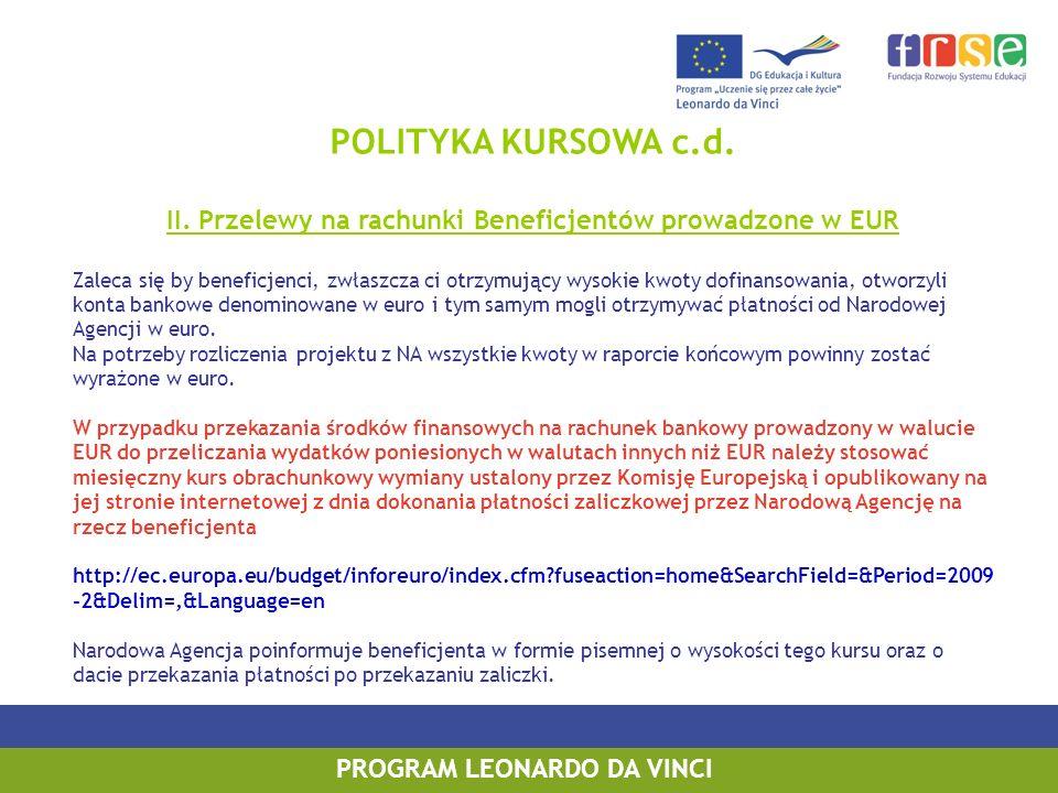POLITYKA KURSOWA c.d.II. Przelewy na rachunki Beneficjentów prowadzone w EUR.