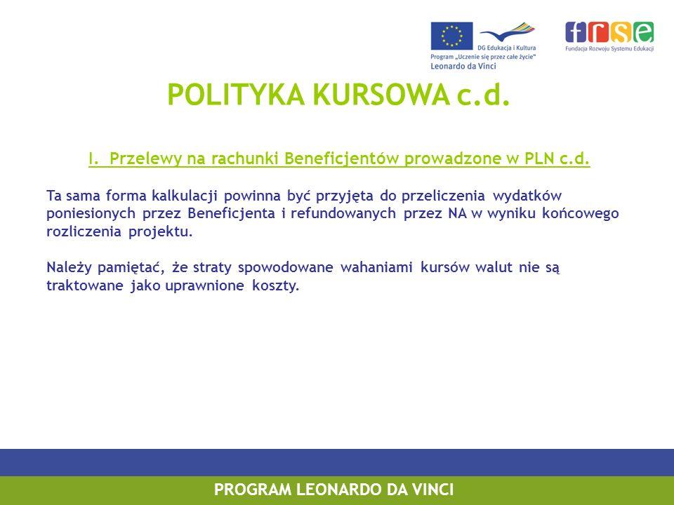 POLITYKA KURSOWA c.d.I. Przelewy na rachunki Beneficjentów prowadzone w PLN c.d.