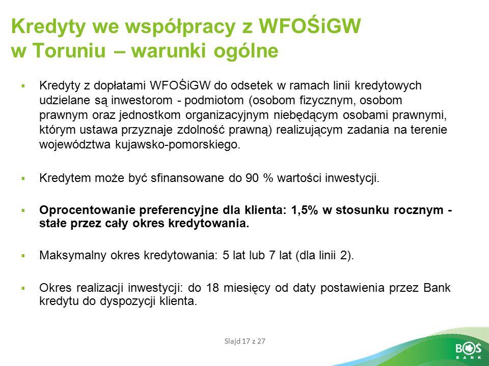 Kredyty we współpracy z WFOŚiGW w Toruniu – warunki ogólne