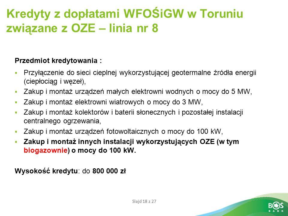 Kredyty z dopłatami WFOŚiGW w Toruniu związane z OZE – linia nr 8