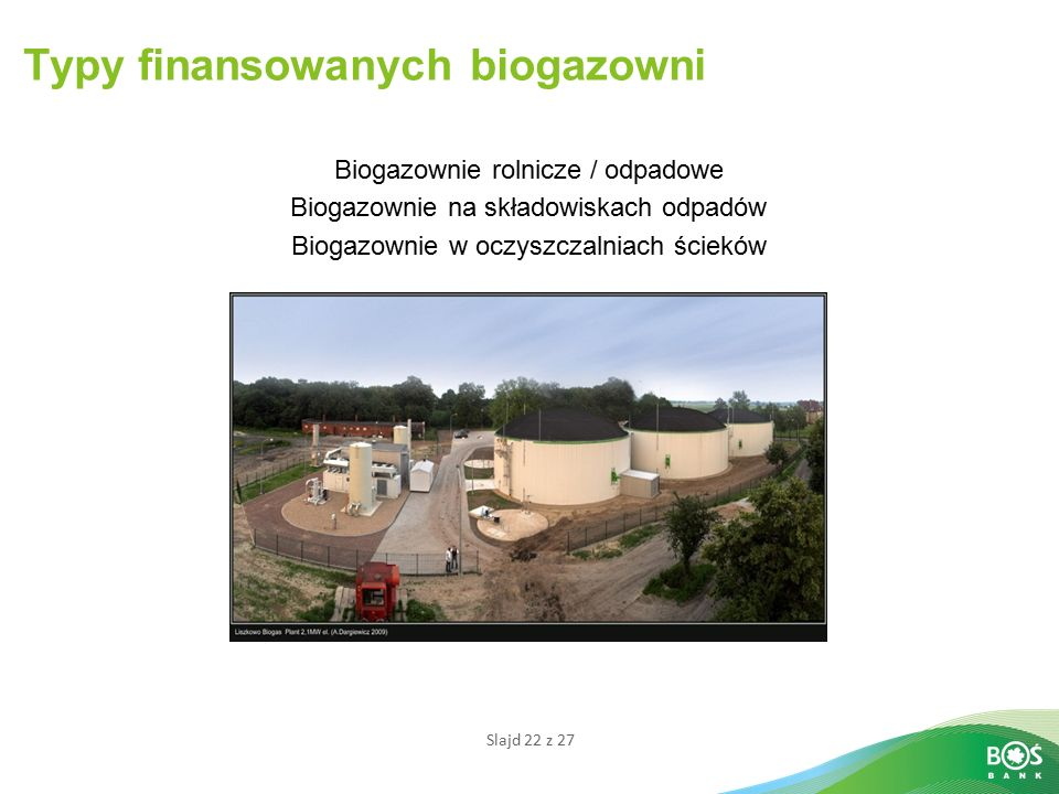 Typy finansowanych biogazowni