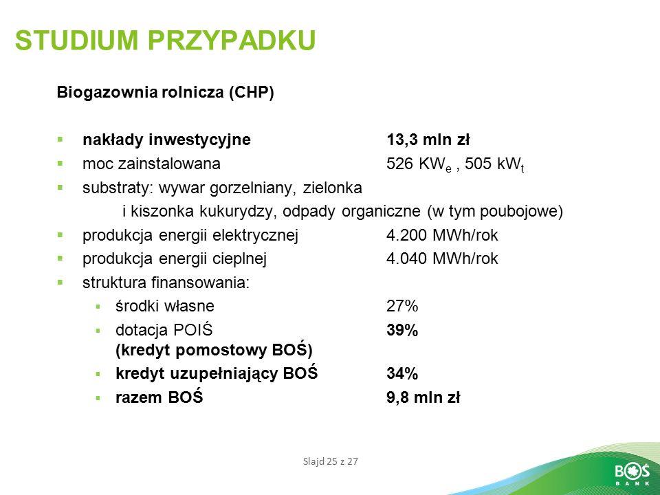 STUDIUM PRZYPADKU Biogazownia rolnicza (CHP)