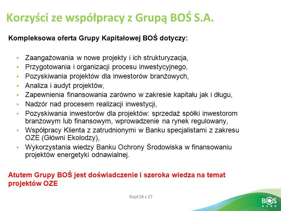 Korzyści ze współpracy z Grupą BOŚ S.A.