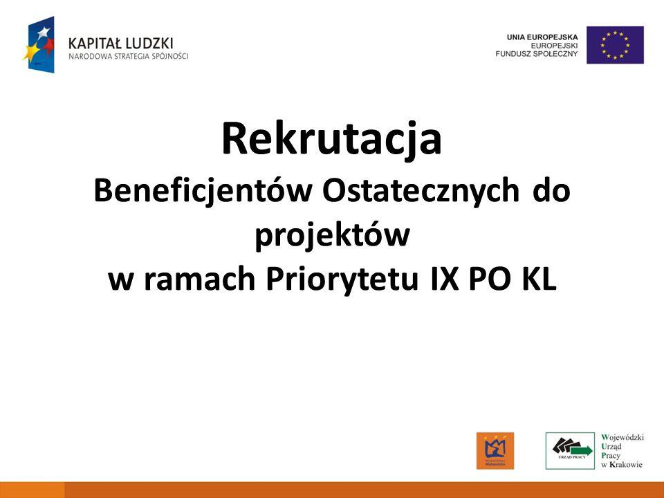 Beneficjentów Ostatecznych do projektów w ramach Priorytetu IX PO KL