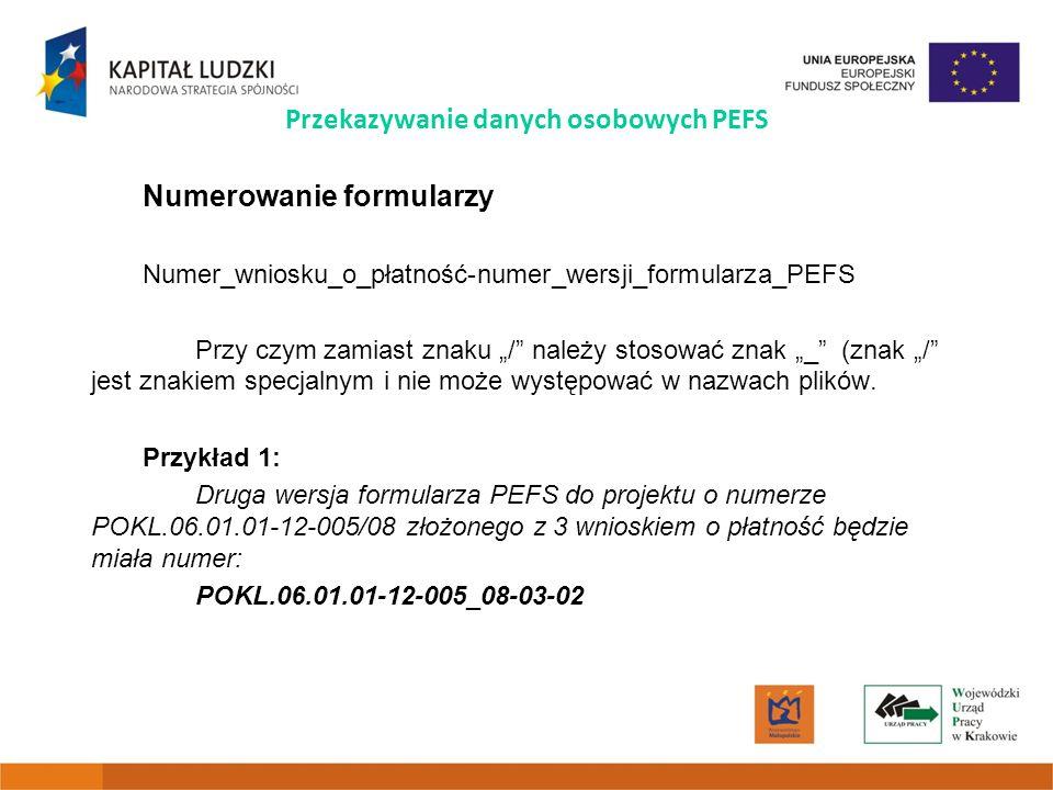 Przekazywanie danych osobowych PEFS