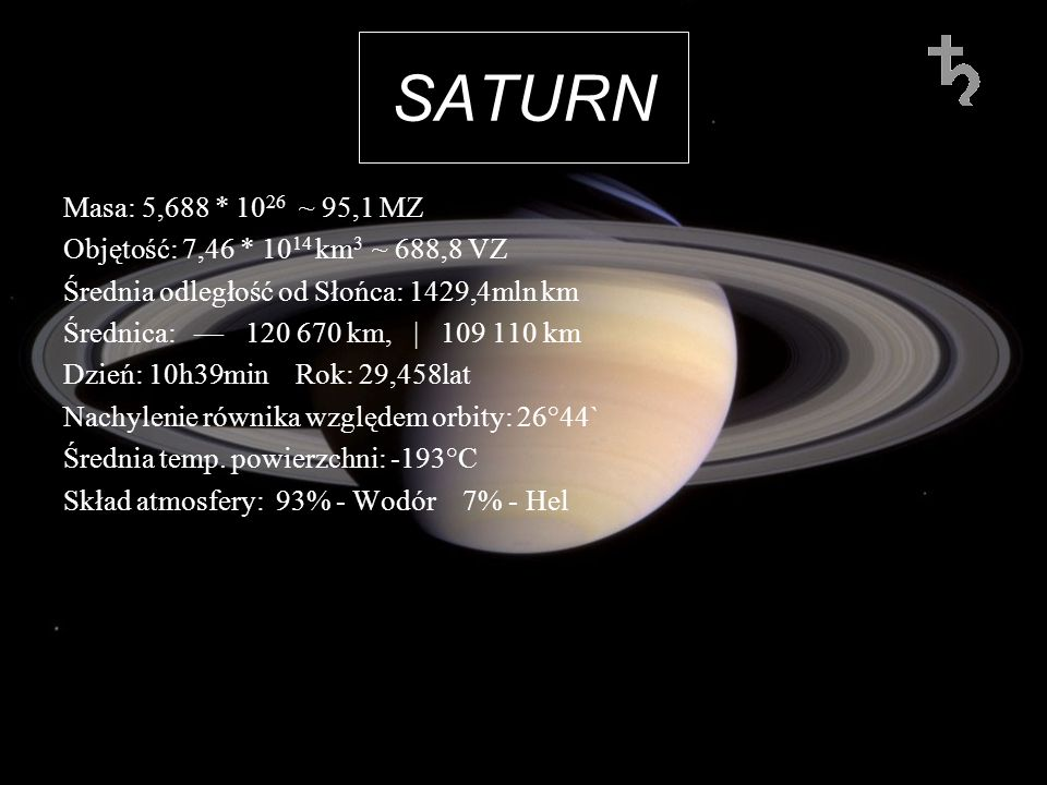 SATURN Masa: 5,688 * 1026 ~ 95,1 MZ. Objętość: 7,46 * 1014 km3 ~ 688,8 VZ. Średnia odległość od Słońca: 1429,4mln km.