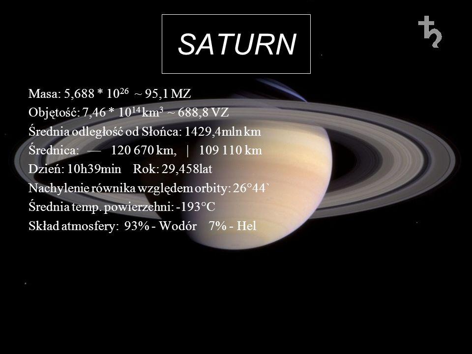 SATURNMasa: 5,688 * 1026 ~ 95,1 MZ. Objętość: 7,46 * 1014 km3 ~ 688,8 VZ. Średnia odległość od Słońca: 1429,4mln km.