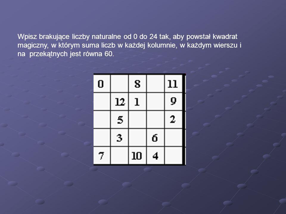 Wpisz brakujące liczby naturalne od 0 do 24 tak, aby powstał kwadrat magiczny, w którym suma liczb w każdej kolumnie, w każdym wierszu i na przekątnych jest równa 60.