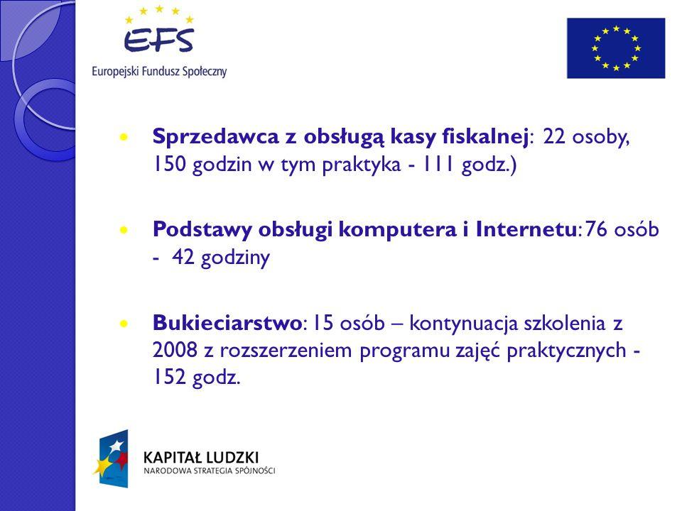 Sprzedawca z obsługą kasy fiskalnej: 22 osoby, 150 godzin w tym praktyka - 111 godz.)