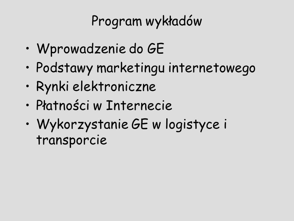 Program wykładów Wprowadzenie do GE. Podstawy marketingu internetowego. Rynki elektroniczne. Płatności w Internecie.