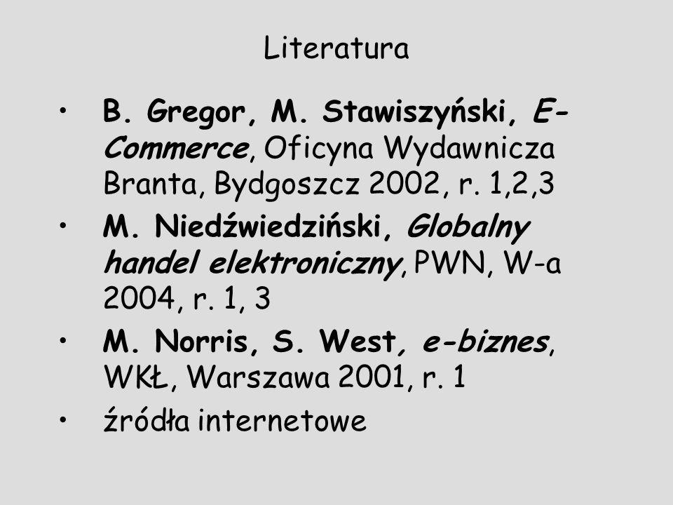 LiteraturaB. Gregor, M. Stawiszyński, E-Commerce, Oficyna Wydawnicza Branta, Bydgoszcz 2002, r. 1,2,3.