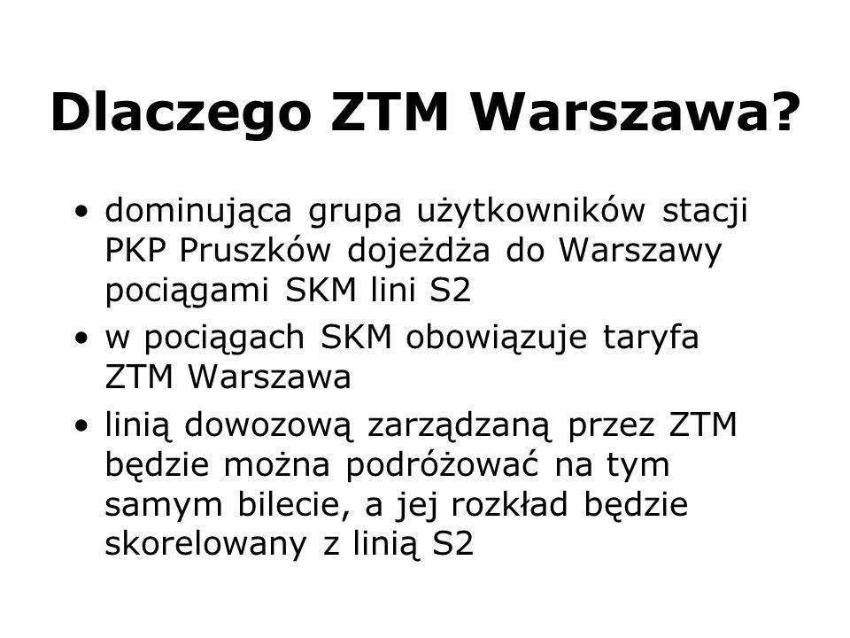 Dlaczego ZTM Warszawa dominująca grupa użytkowników stacji PKP Pruszków dojeżdża do Warszawy pociągami SKM lini S2.