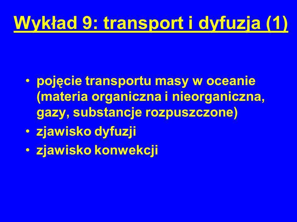 Wykład 9: transport i dyfuzja (1)
