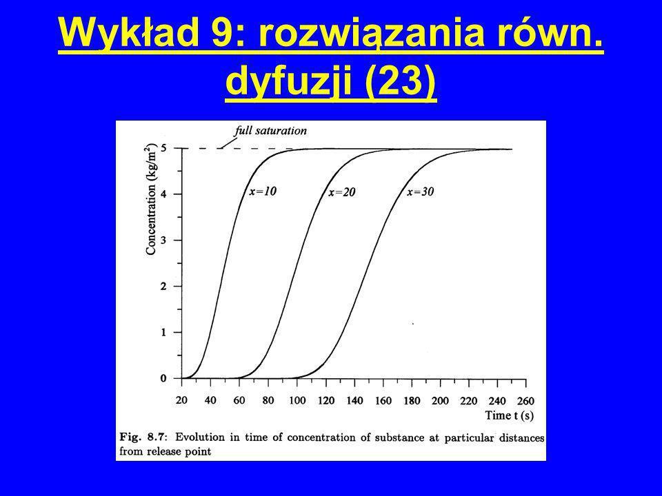 Wykład 9: rozwiązania równ. dyfuzji (23)