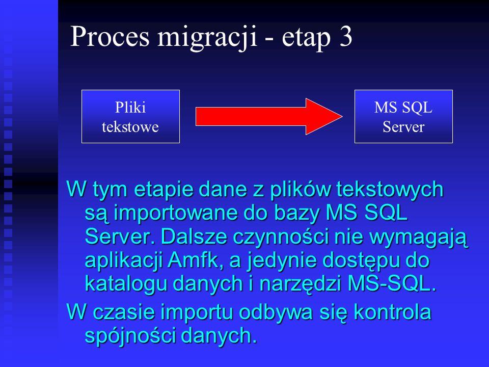 Proces migracji - etap 3 Pliki. tekstowe. MS SQL. Server.