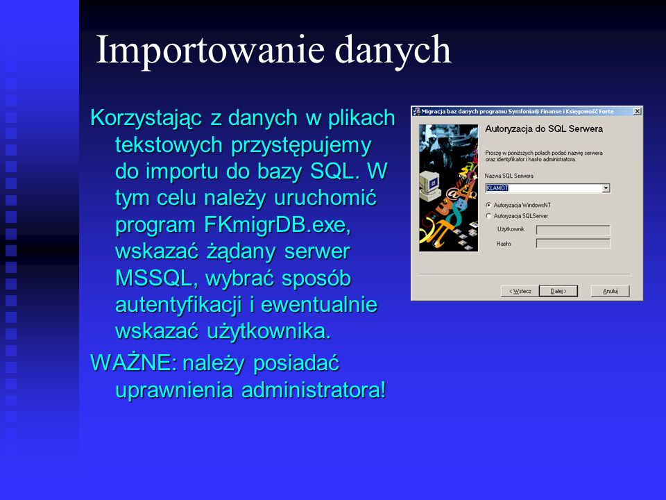 Importowanie danych