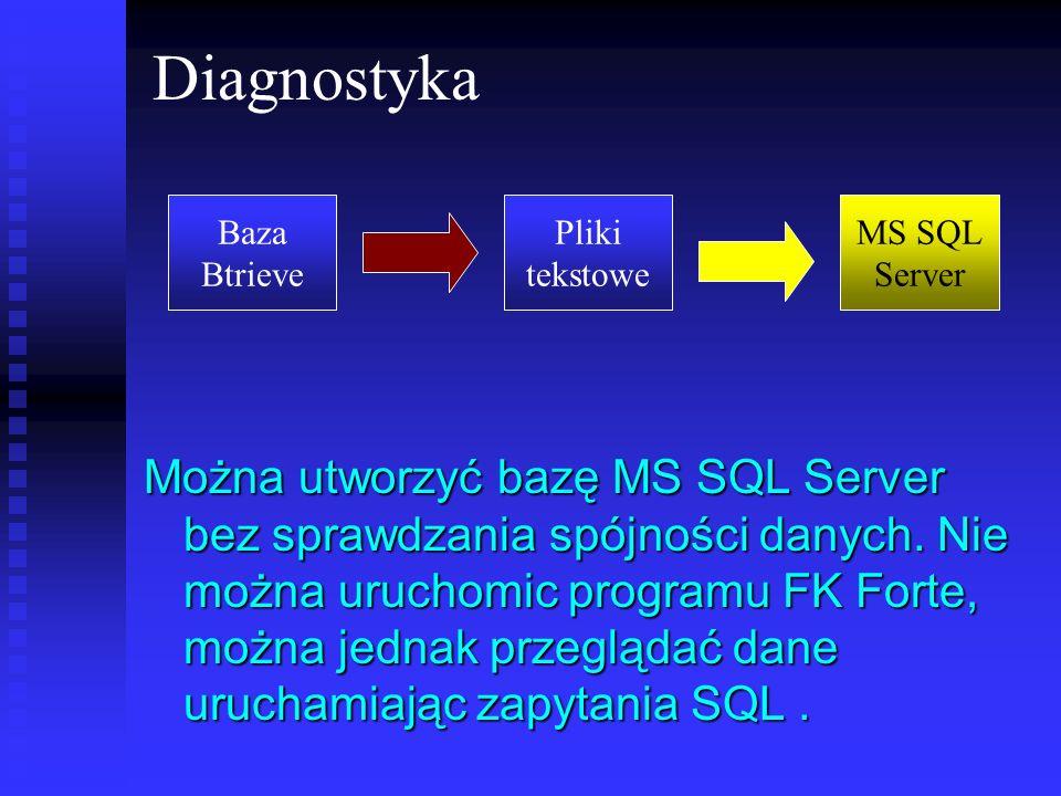 Diagnostyka Baza. Btrieve. Pliki. tekstowe. MS SQL. Server.