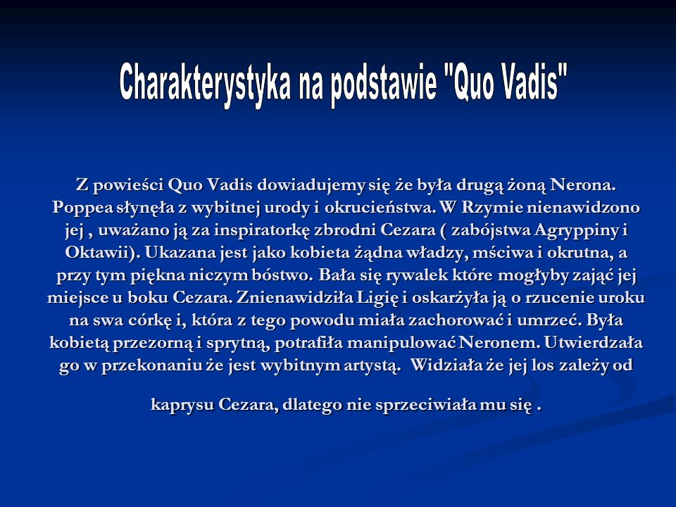 Charakterystyka na podstawie Quo Vadis
