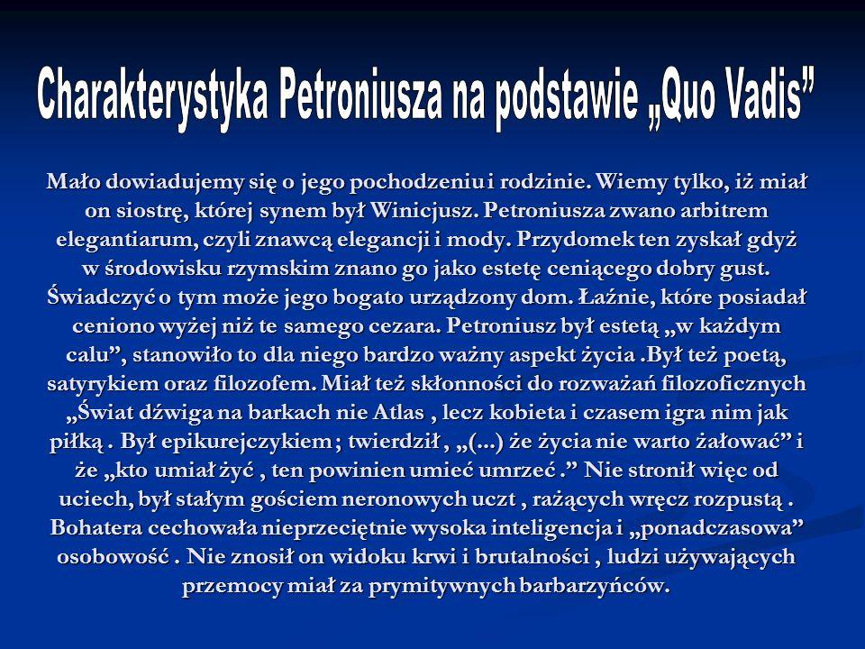 "Charakterystyka Petroniusza na podstawie ""Quo Vadis"