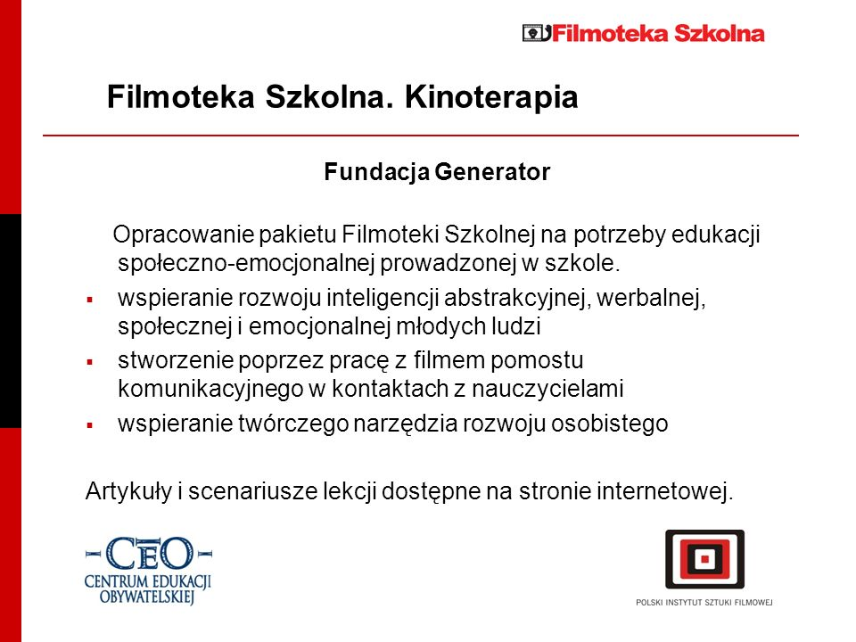 Filmoteka Szkolna. Kinoterapia