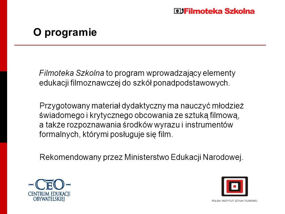 O programieFilmoteka Szkolna to program wprowadzający elementy edukacji filmoznawczej do szkół ponadpodstawowych.
