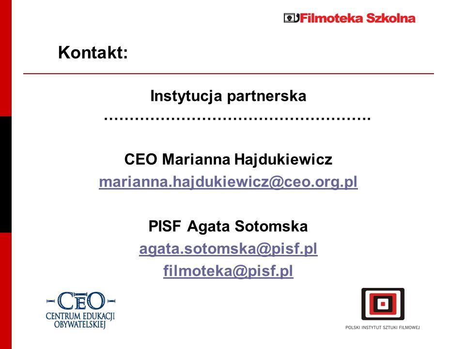 Instytucja partnerska ……………………………………………. CEO Marianna Hajdukiewicz