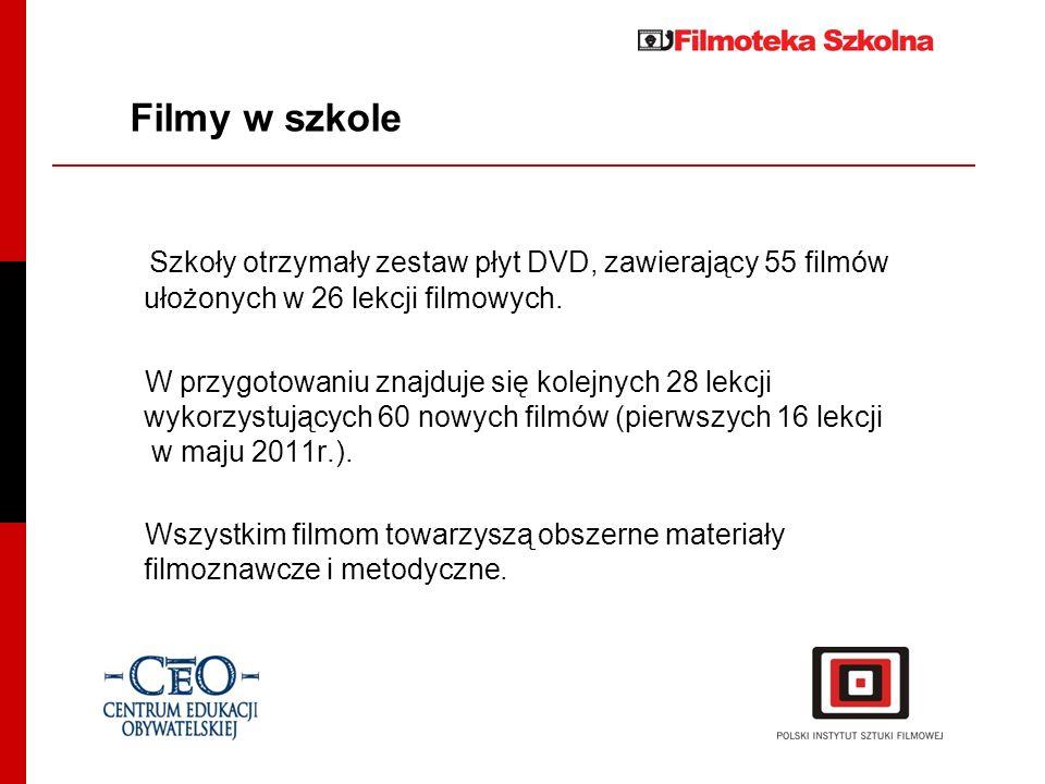 Filmy w szkoleSzkoły otrzymały zestaw płyt DVD, zawierający 55 filmów ułożonych w 26 lekcji filmowych.