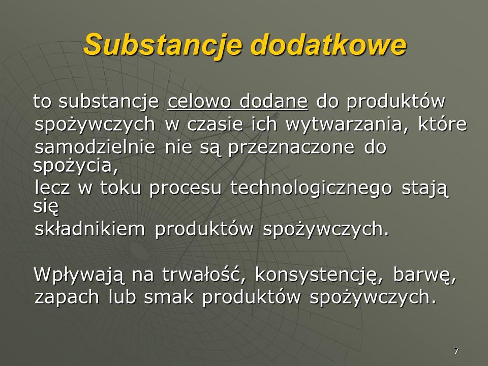 Substancje dodatkowe to substancje celowo dodane do produktów