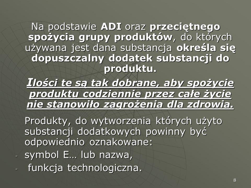 Na podstawie ADI oraz przeciętnego spożycia grupy produktów, do których używana jest dana substancja określa się dopuszczalny dodatek substancji do produktu.