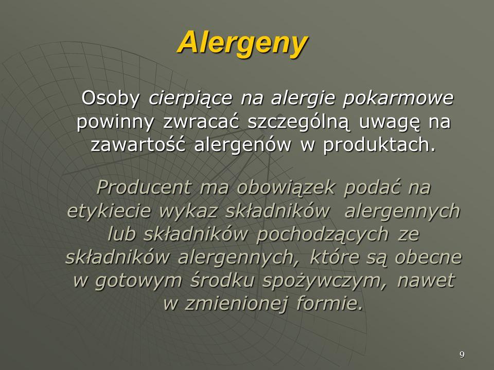 Alergeny Osoby cierpiące na alergie pokarmowe powinny zwracać szczególną uwagę na zawartość alergenów w produktach.