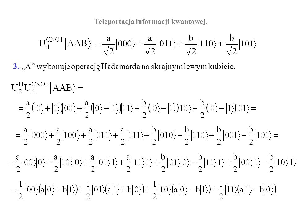 Teleportacja informacji kwantowej.