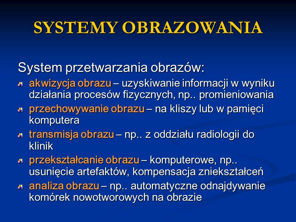 SYSTEMY OBRAZOWANIA System przetwarzania obrazów: