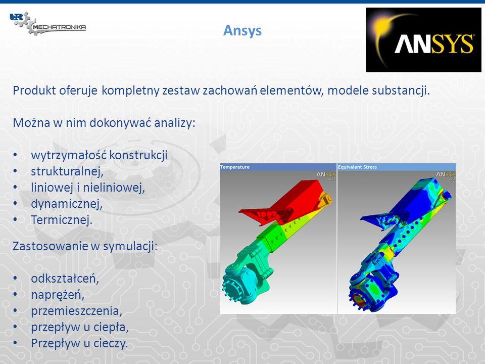 Ansys Produkt oferuje kompletny zestaw zachowań elementów, modele substancji. Można w nim dokonywać analizy: