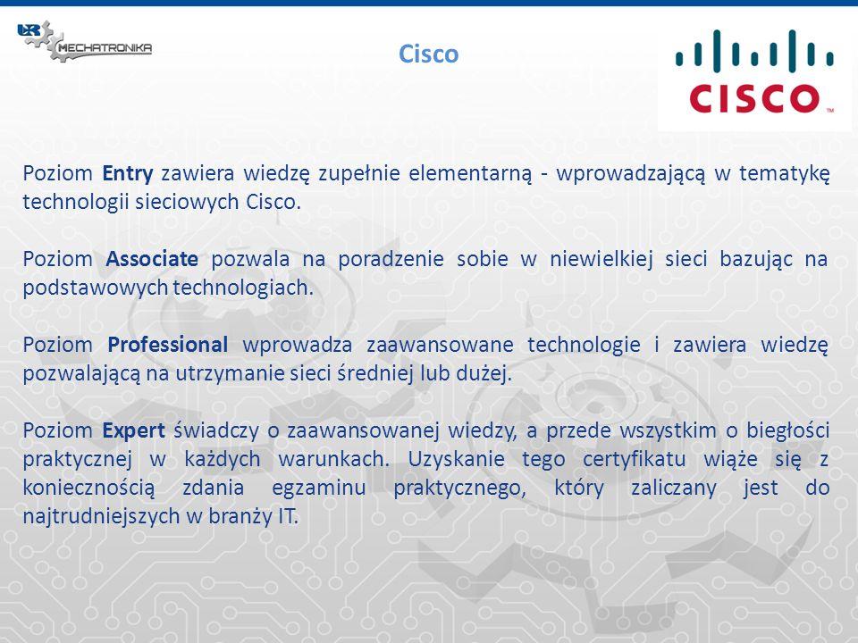 Cisco Poziom Entry zawiera wiedzę zupełnie elementarną - wprowadzającą w tematykę technologii sieciowych Cisco.