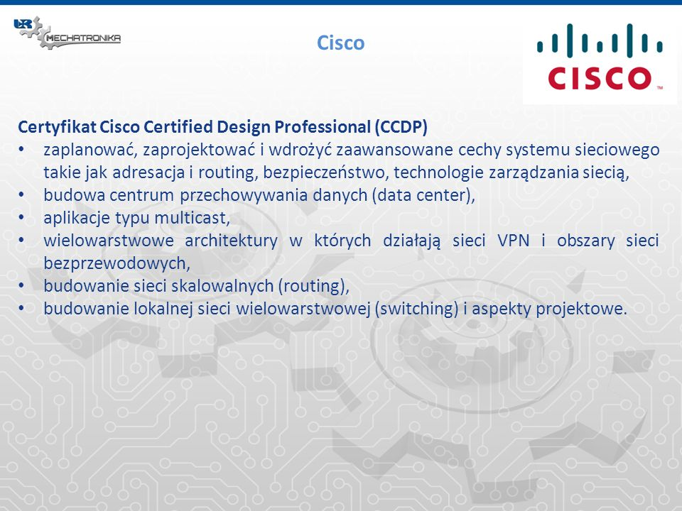 Cisco Certyfikat Cisco Certified Design Professional (CCDP)