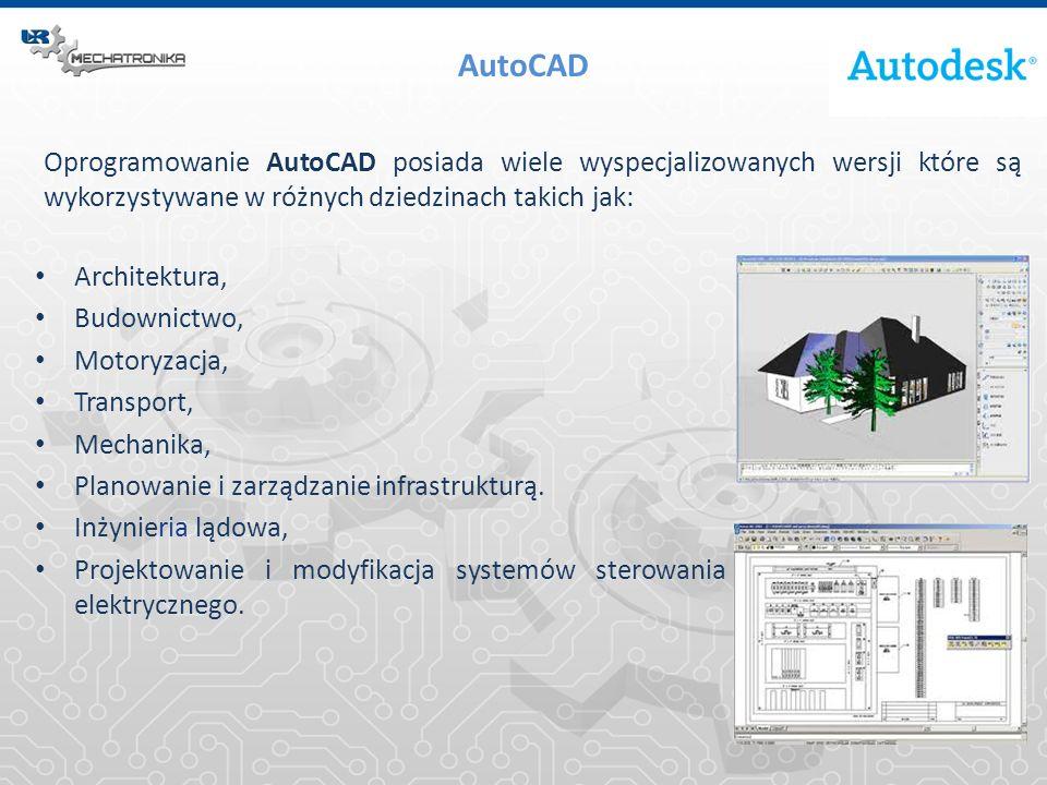 AutoCAD Oprogramowanie AutoCAD posiada wiele wyspecjalizowanych wersji które są wykorzystywane w różnych dziedzinach takich jak: