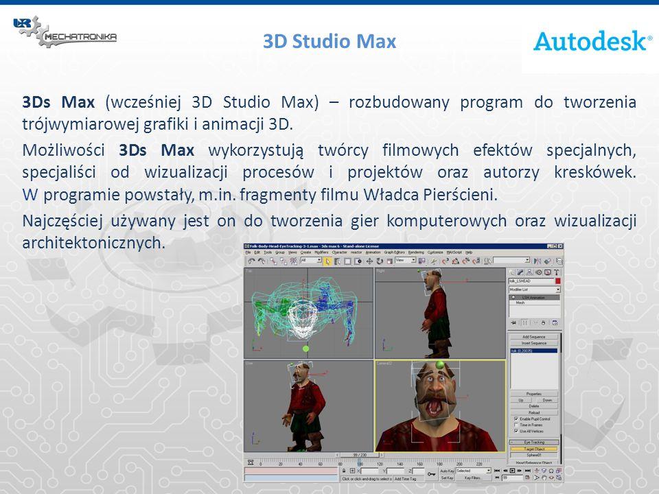 3D Studio Max 3Ds Max (wcześniej 3D Studio Max) – rozbudowany program do tworzenia trójwymiarowej grafiki i animacji 3D.