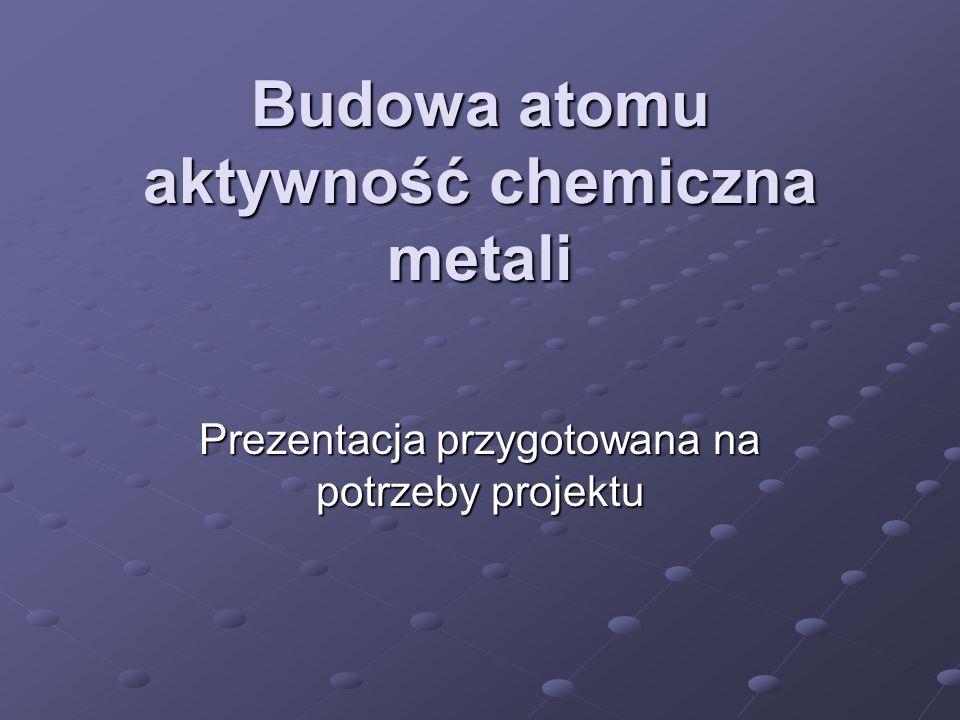 Budowa atomu aktywność chemiczna metali