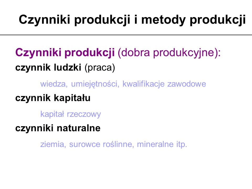 Czynniki produkcji i metody produkcji