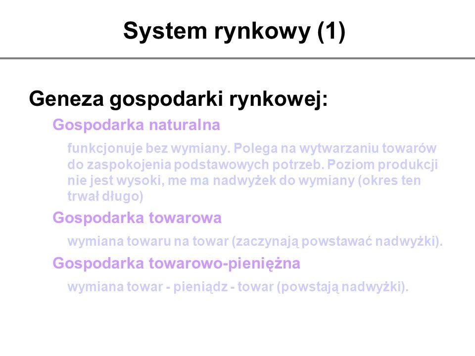 System rynkowy (1) Geneza gospodarki rynkowej: Gospodarka naturalna