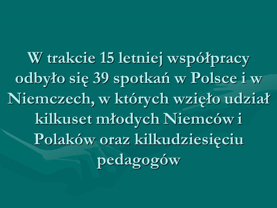 W trakcie 15 letniej współpracy odbyło się 39 spotkań w Polsce i w Niemczech, w których wzięło udział kilkuset młodych Niemców i Polaków oraz kilkudziesięciu pedagogów