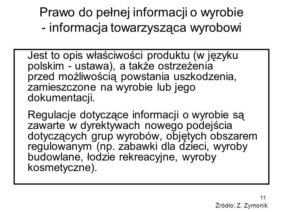 Prawo do pełnej informacji o wyrobie - informacja towarzysząca wyrobowi