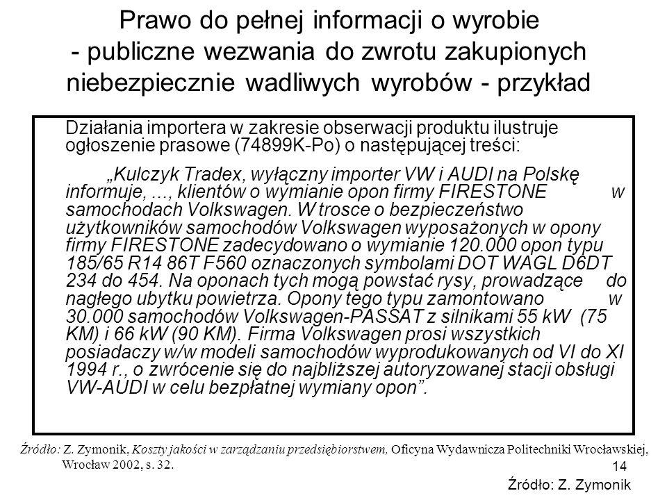 Prawo do pełnej informacji o wyrobie - publiczne wezwania do zwrotu zakupionych niebezpiecznie wadliwych wyrobów - przykład