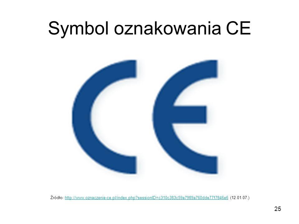 Symbol oznakowania CE Źródło: http://www.oznaczenie-ce.pl/index.php sessionID=c310c383c59a7989a760dde77f7846e6 (12.01.07.)