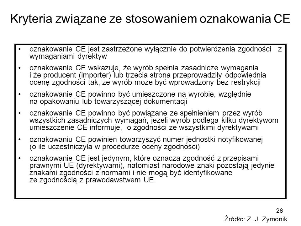 Kryteria związane ze stosowaniem oznakowania CE