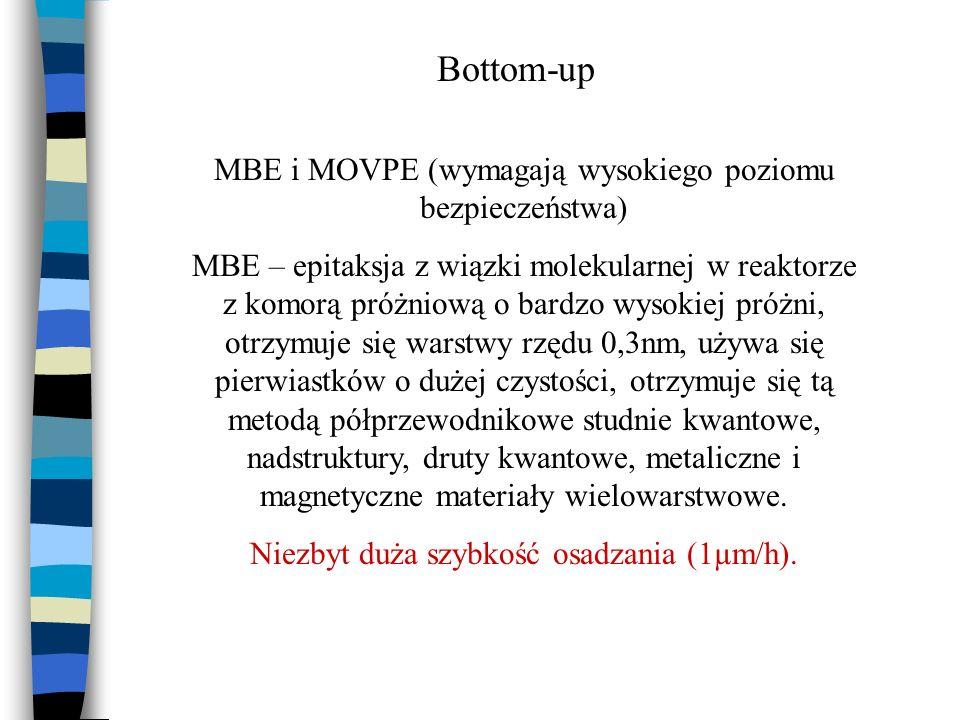 Bottom-up MBE i MOVPE (wymagają wysokiego poziomu bezpieczeństwa)