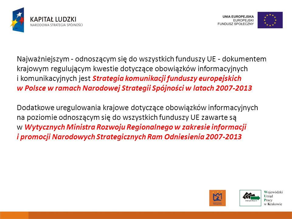 Najważniejszym - odnoszącym się do wszystkich funduszy UE - dokumentem krajowym regulującym kwestie dotyczące obowiązków informacyjnych i komunikacyjnych jest Strategia komunikacji funduszy europejskich w Polsce w ramach Narodowej Strategii Spójności w latach 2007-2013